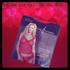 Red mini cami, panty, stockings